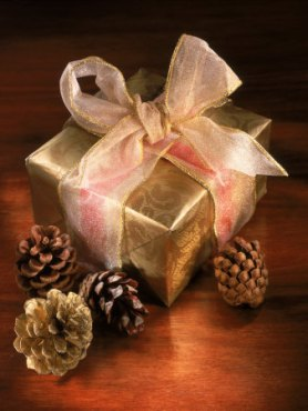 Golden present w-pinecones